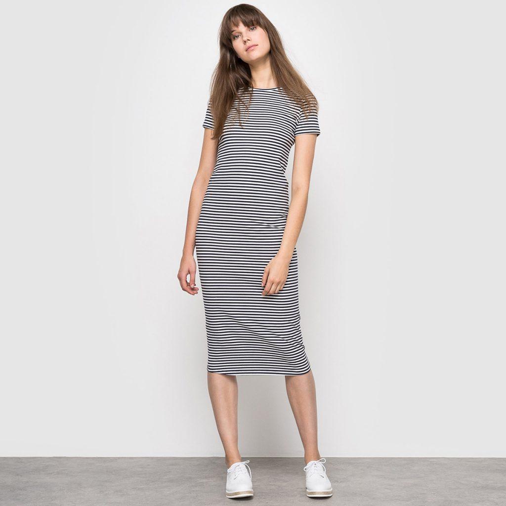 Трикотажное полосатое платье миди