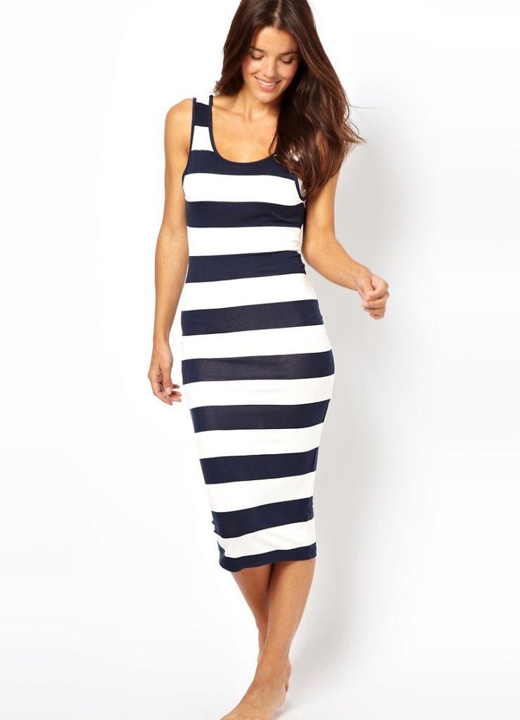 Платье в широкую горизонтальную полоску