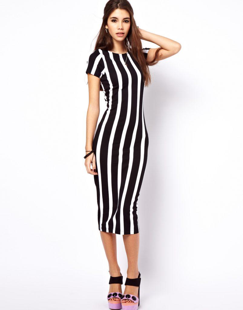 Черно-белое платье в широкую вертикальную полоску
