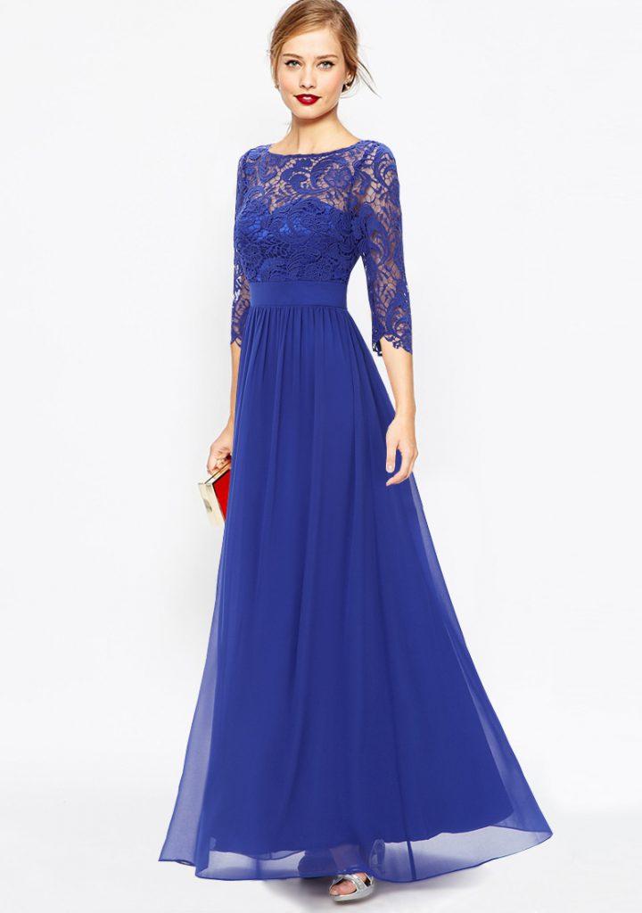 Синее красивое платье на выпускной