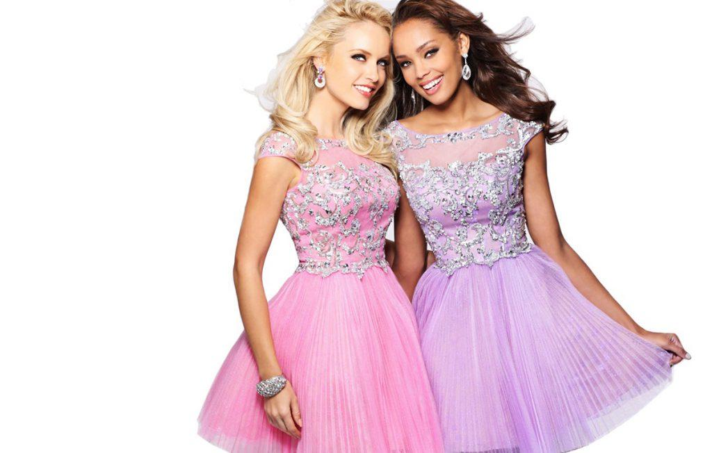 Красивые розовое и сиреневое платья на выпускной