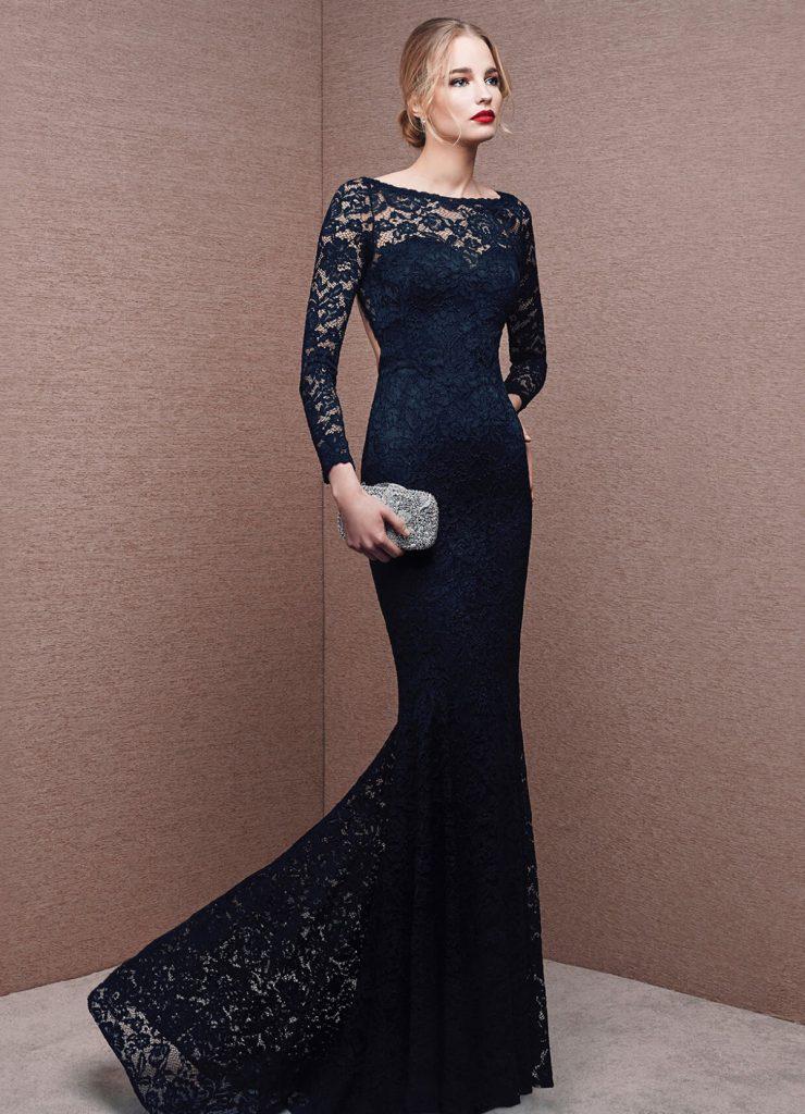 Кружевное черное платье на выпускной