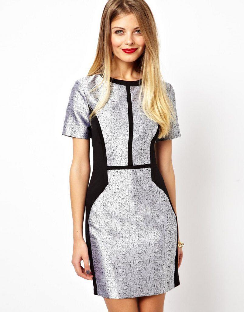 Серебристо-черное платье
