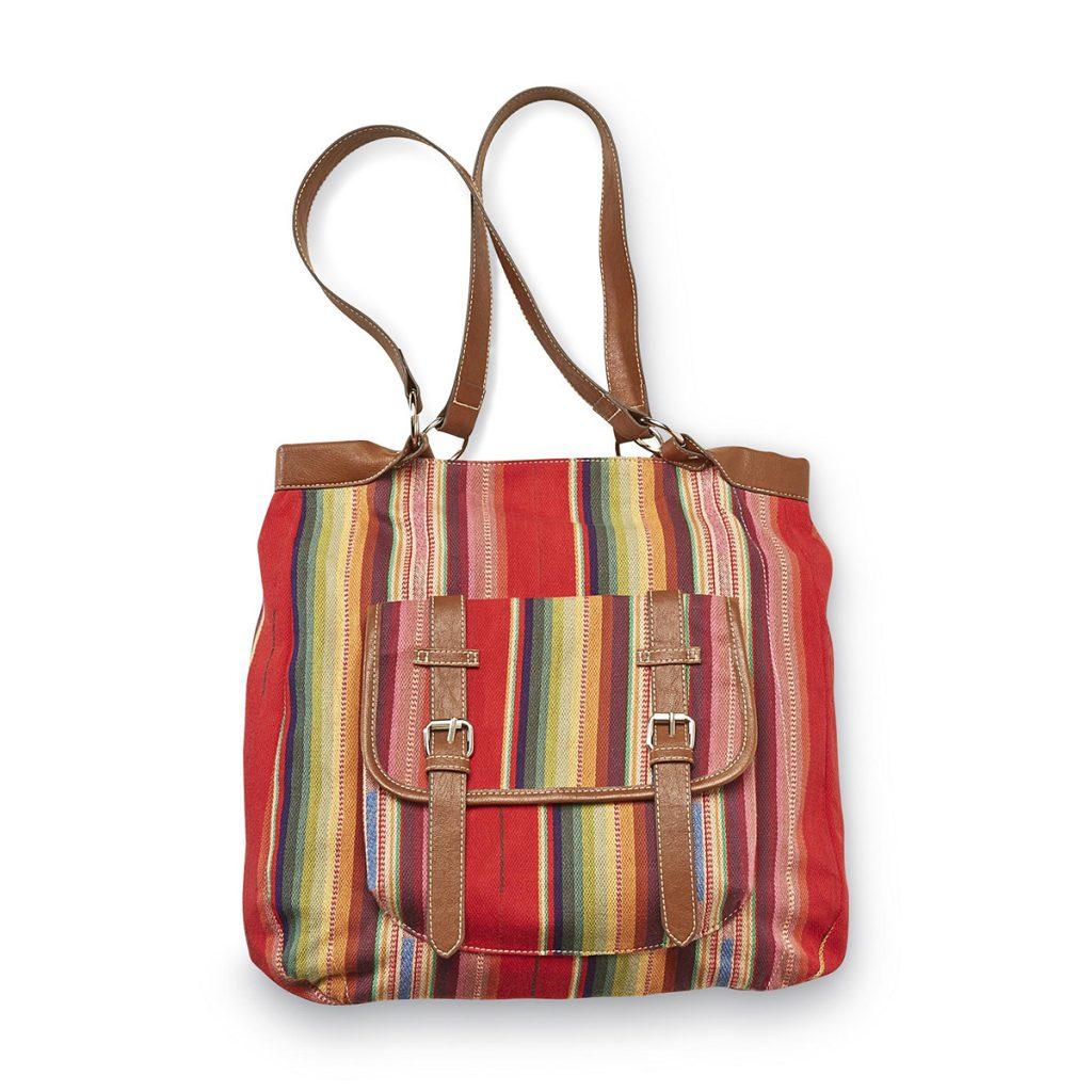 Разноцветная сумка в полоску