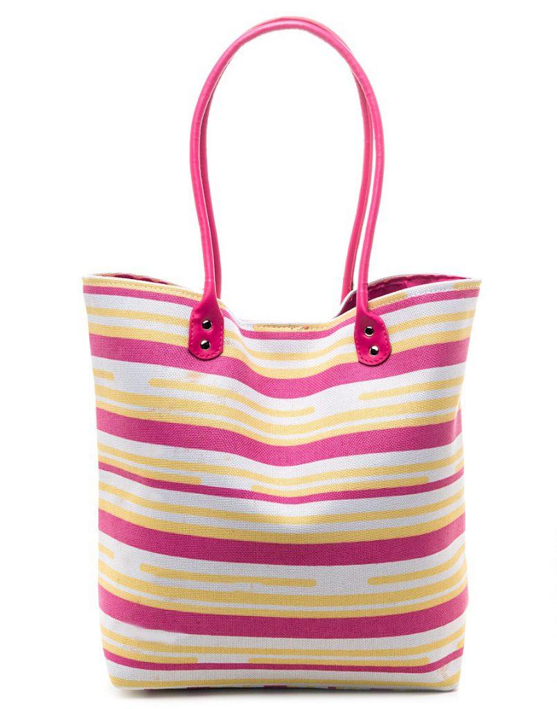 Летняя яркая полосатая сумка