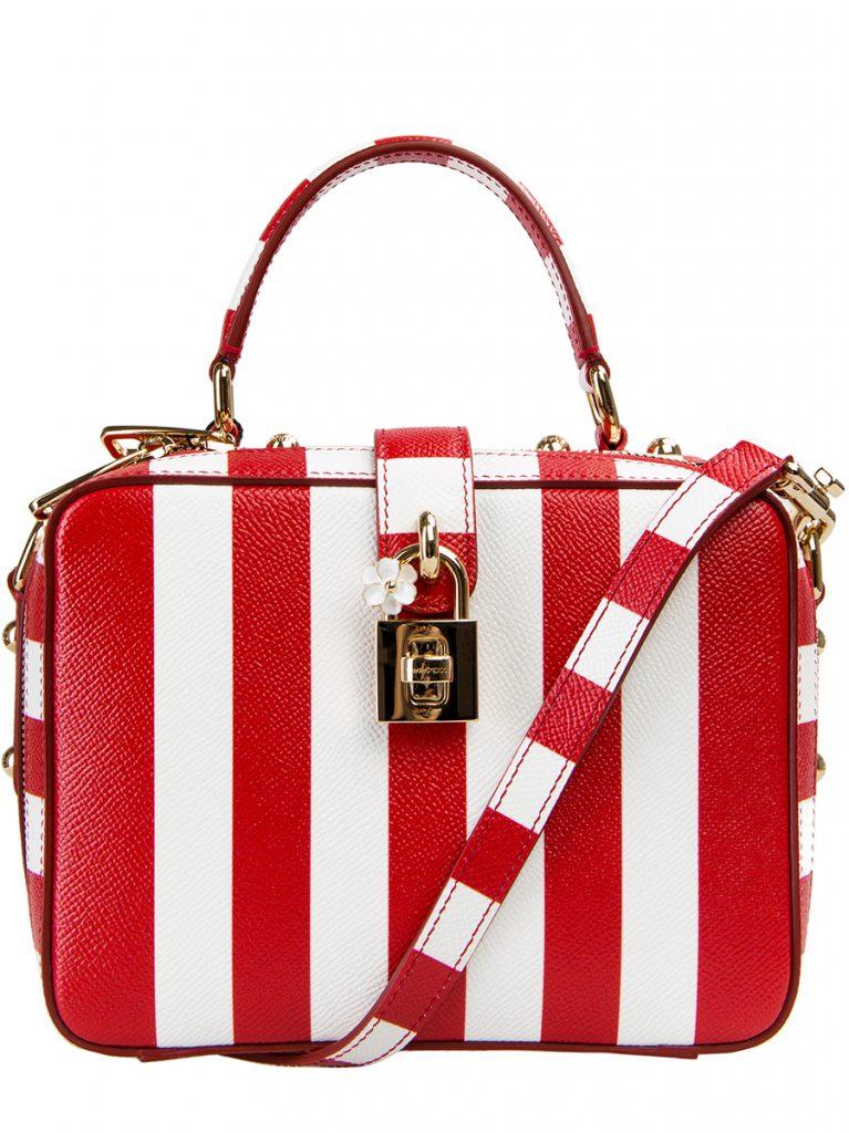 Красно-белая сумка в полоску
