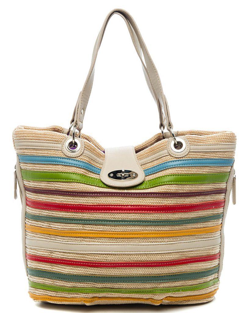 Пляжная разноцветная сумка в полоску