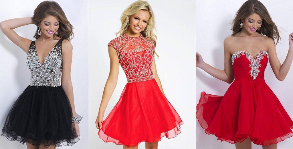 Красные и черное платья для встречи Нового года