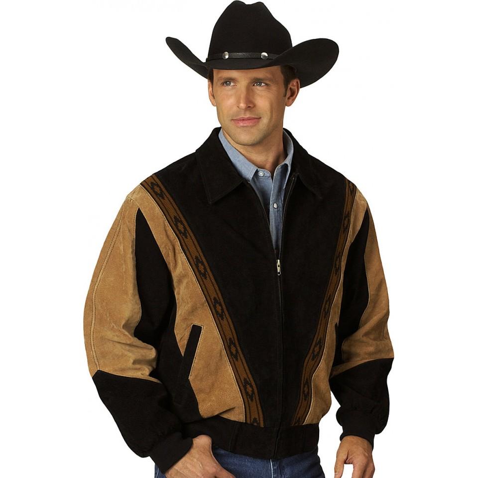 Мужская куртка из замши с джинсами и шляпой