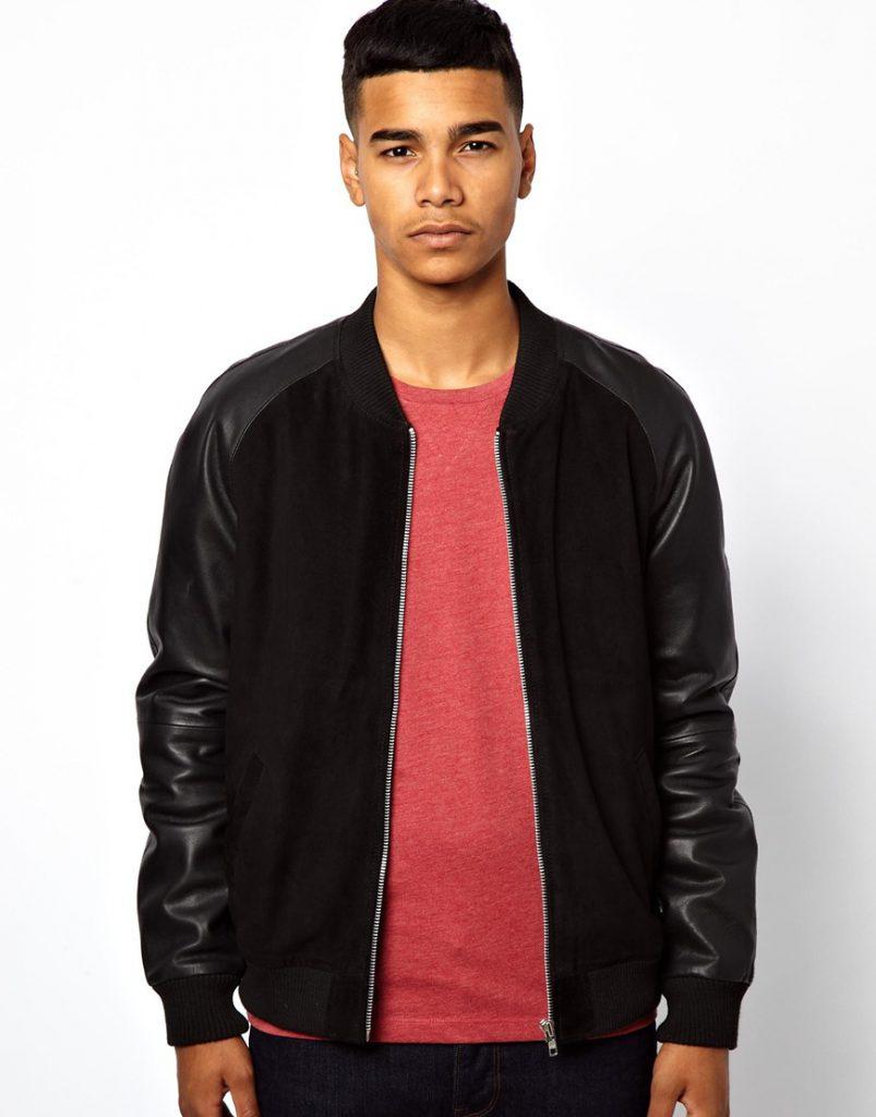 Черная мужская куртка из замши и кожи