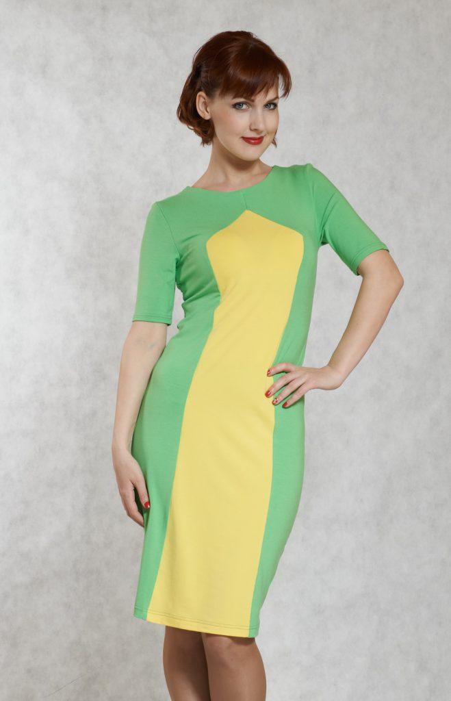 Желто-зеленое платье