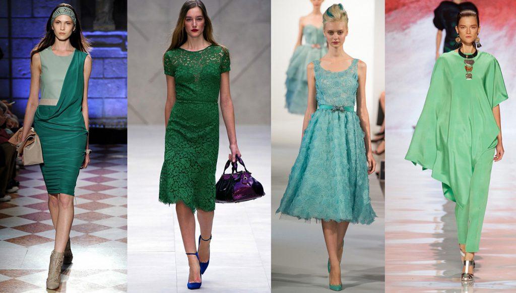 Красивые оттенки зеленого цвета в одежде