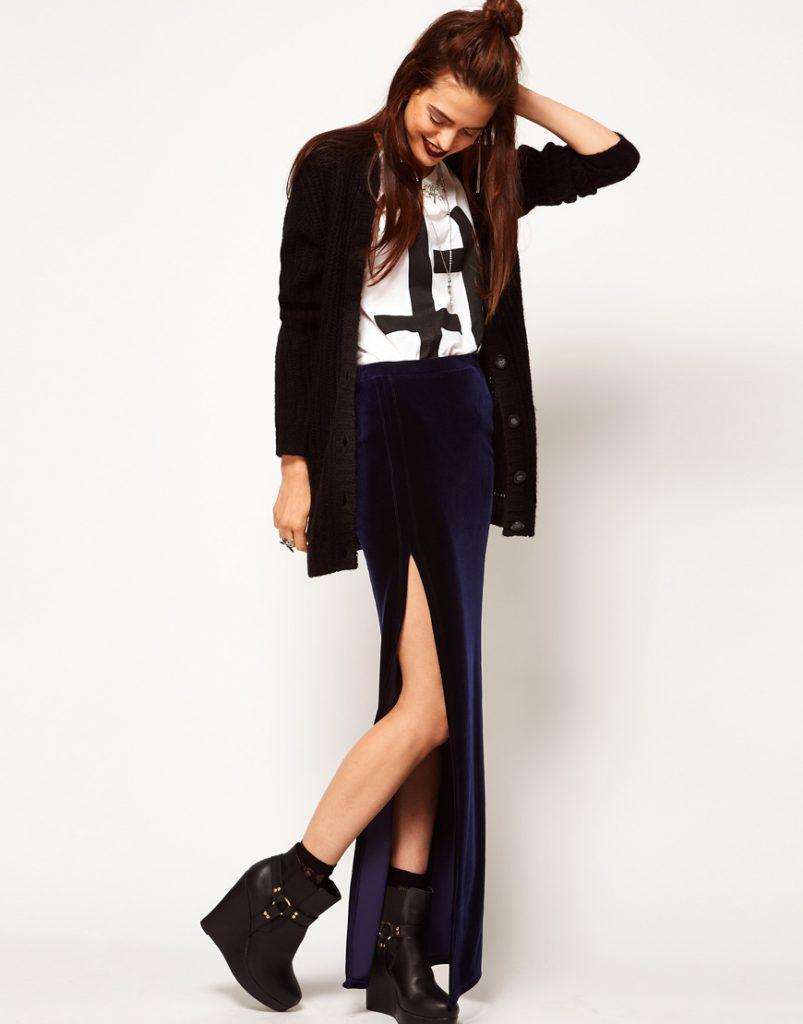 Синяя бархатная юбка макси