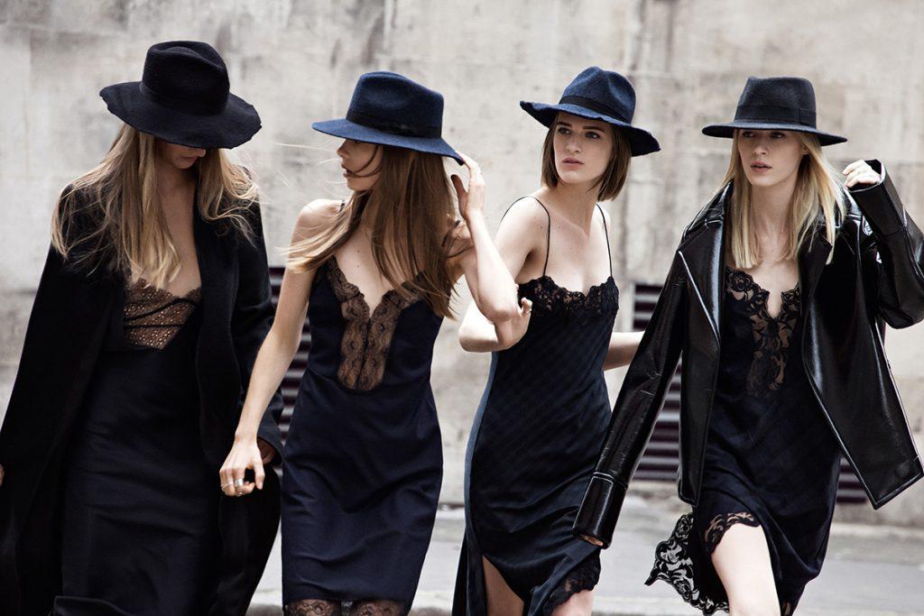 Черные платья в бельевом стиле