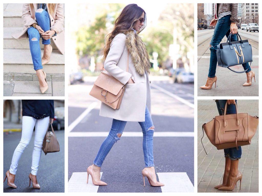 Женские образы с бежевой сумкой
