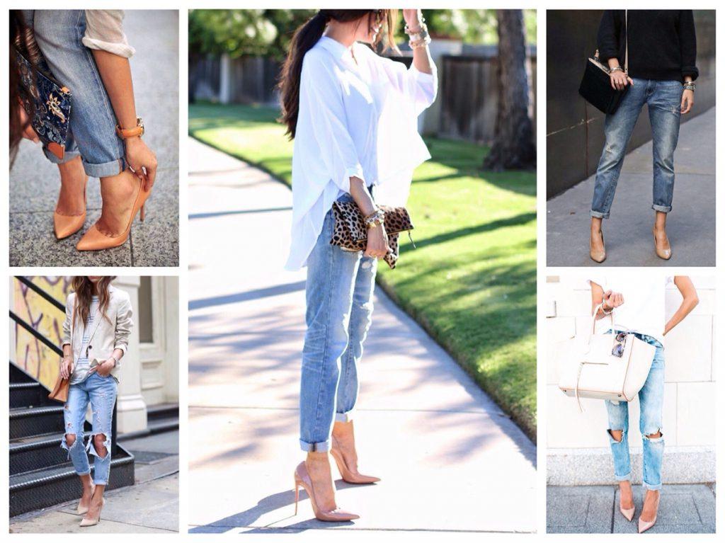 Бежевые туфли с джинсами