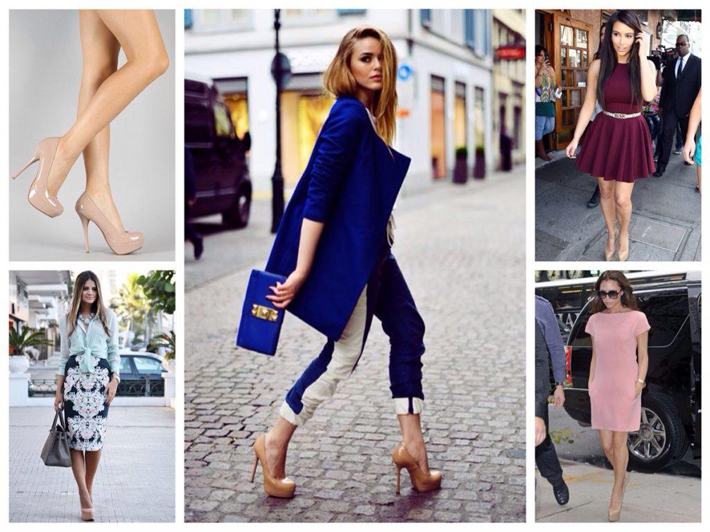 Бежевые туфли с брюками и платьями