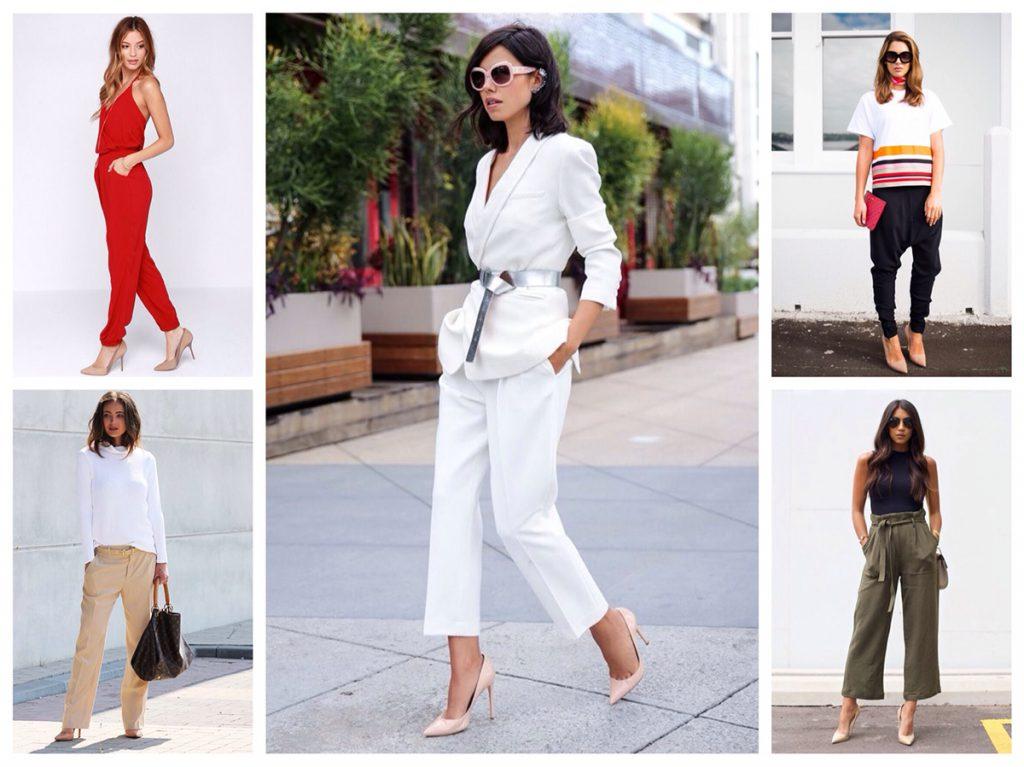 Бежевые туфли в женских модных образах