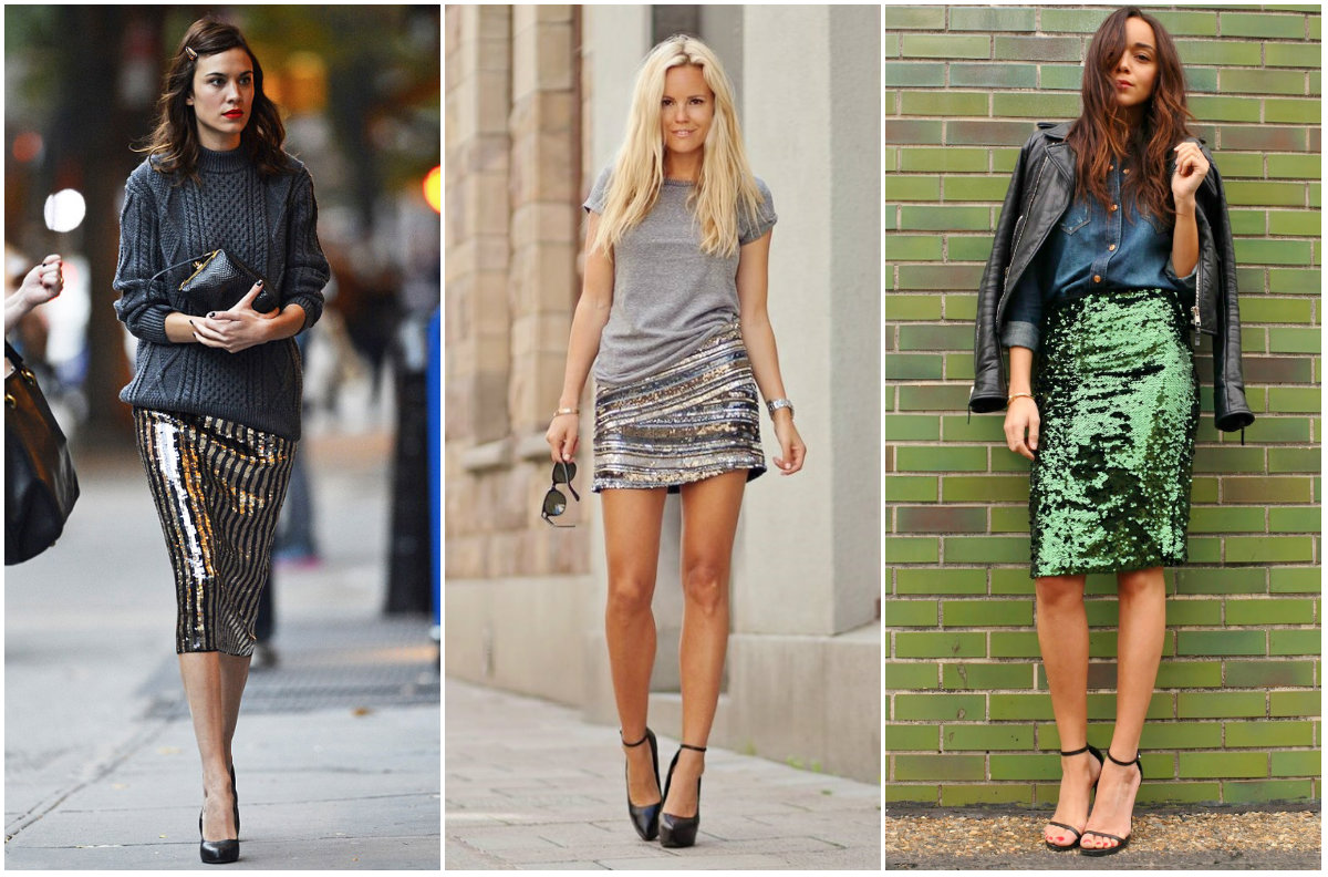 76edd0fcfa0 Образы с блестящими юбками Черно-синяя блестящая юбка с черной блузкой  Серебристая блестящая юбка с серым джемпером оверсайз Коричневая юбка  карандаш ...