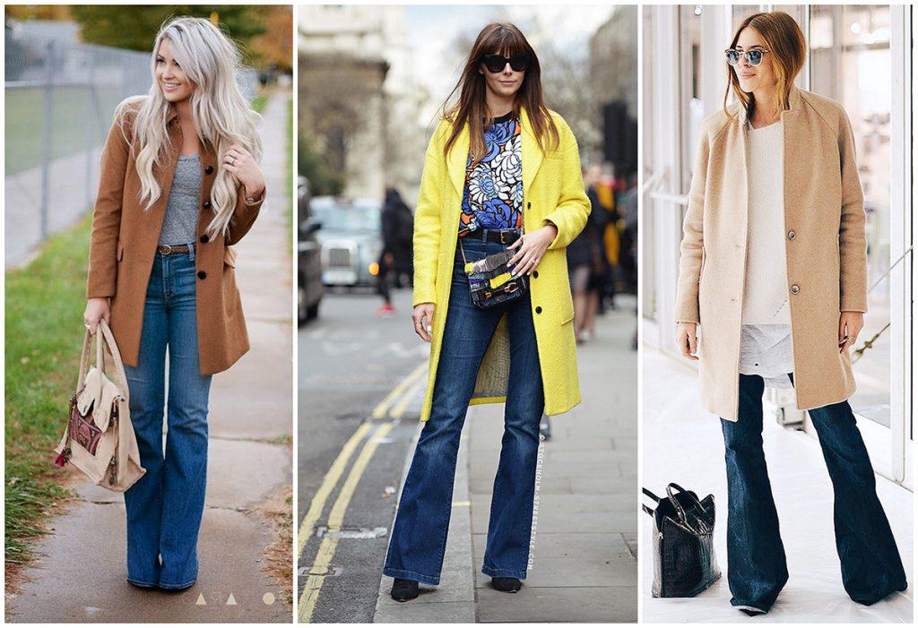 Модные образы с расклешенными джинсами
