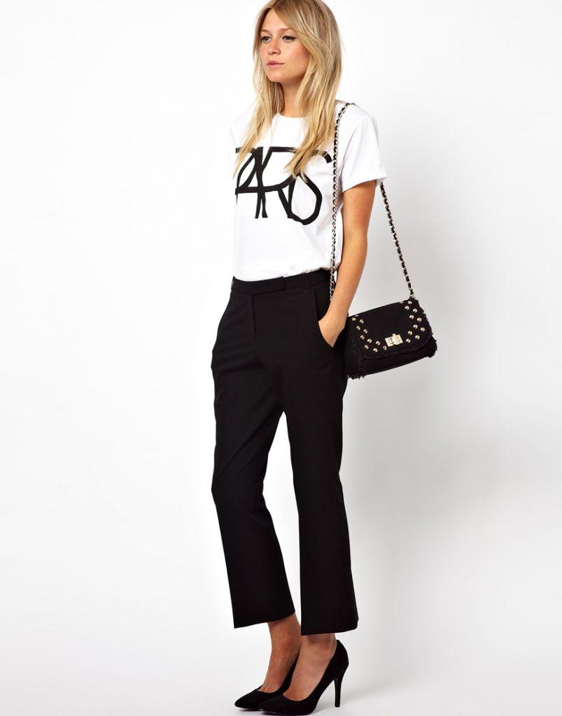 Стильные укороченные черные брюки клеш