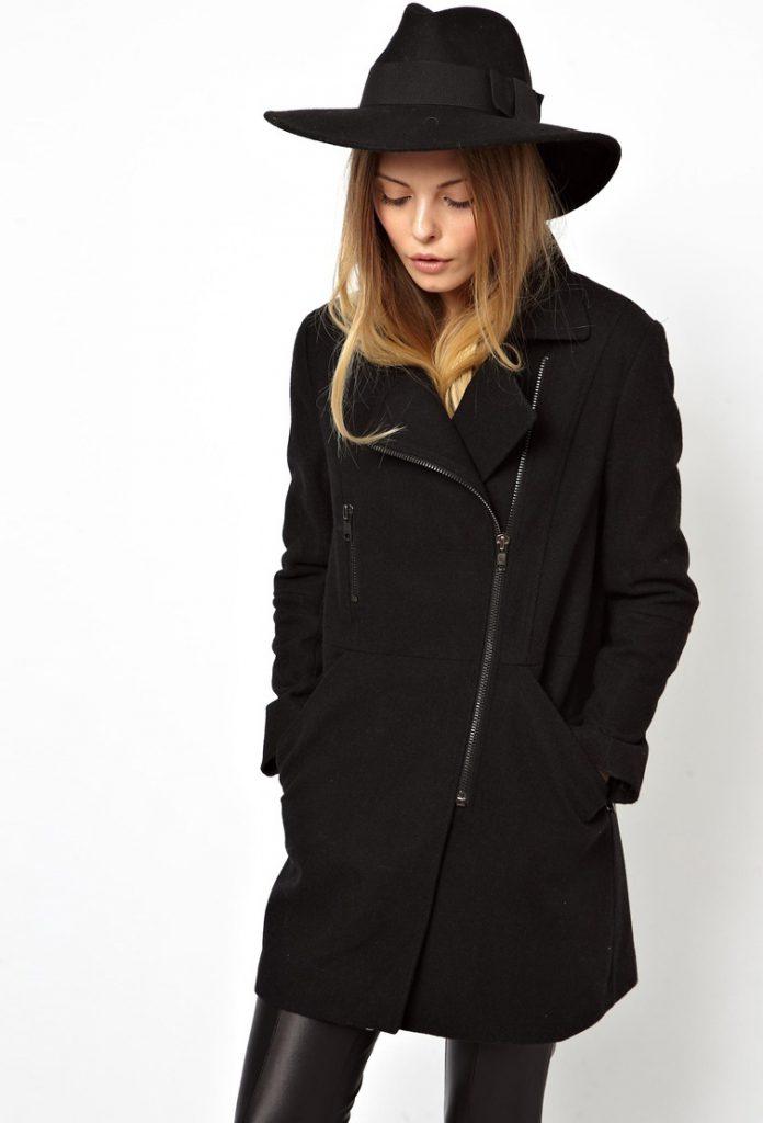 Черное пальто со шляпой