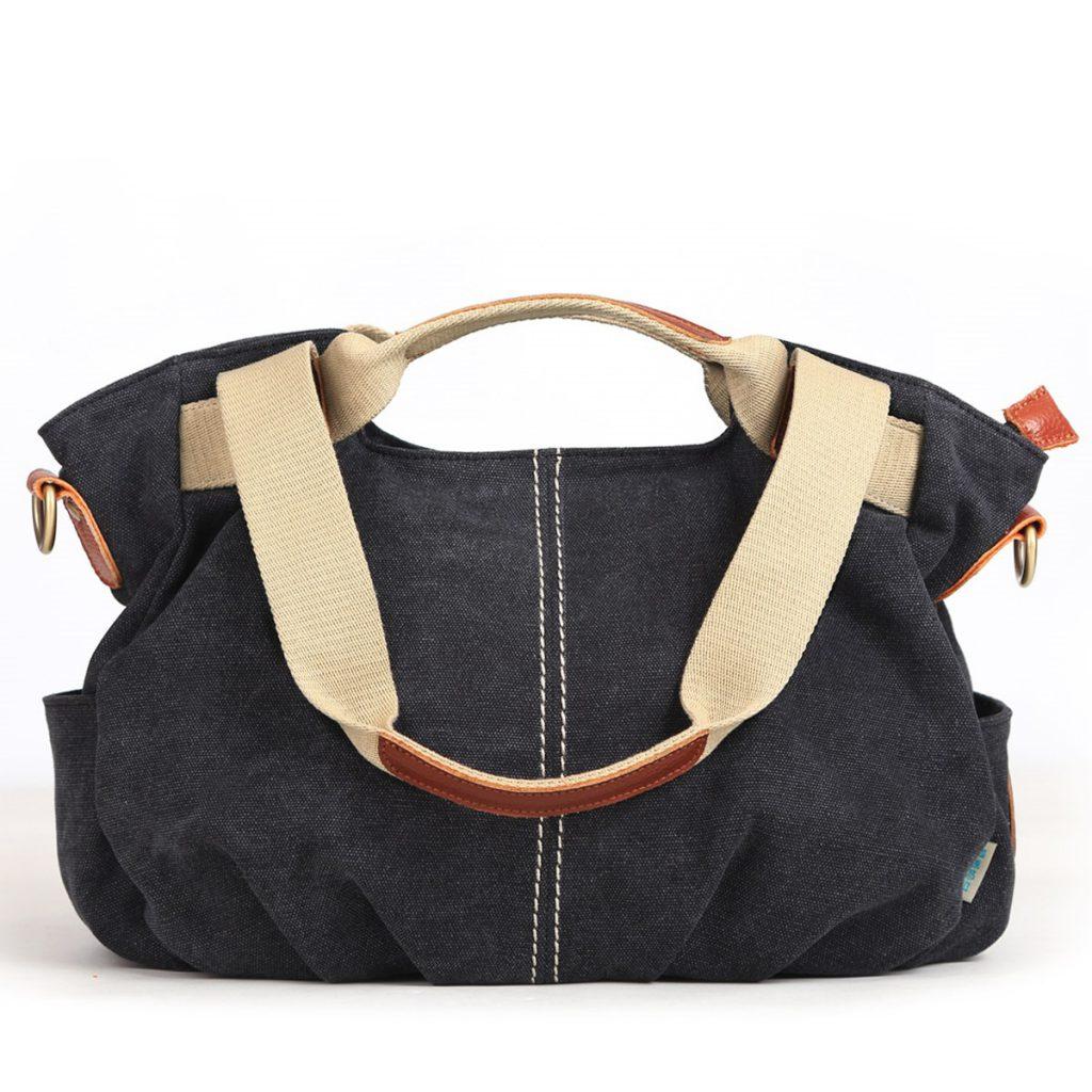 Черно-бежевая джинсовая сумка