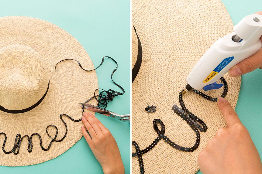Украшение летней шляпы лентой