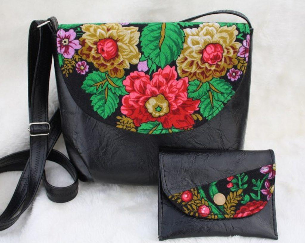 Оформление сумки тканью с цветами