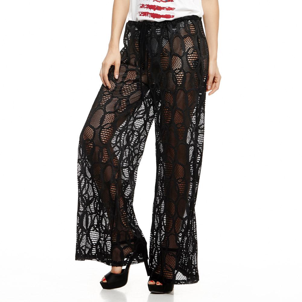 Черные кружевные брюки