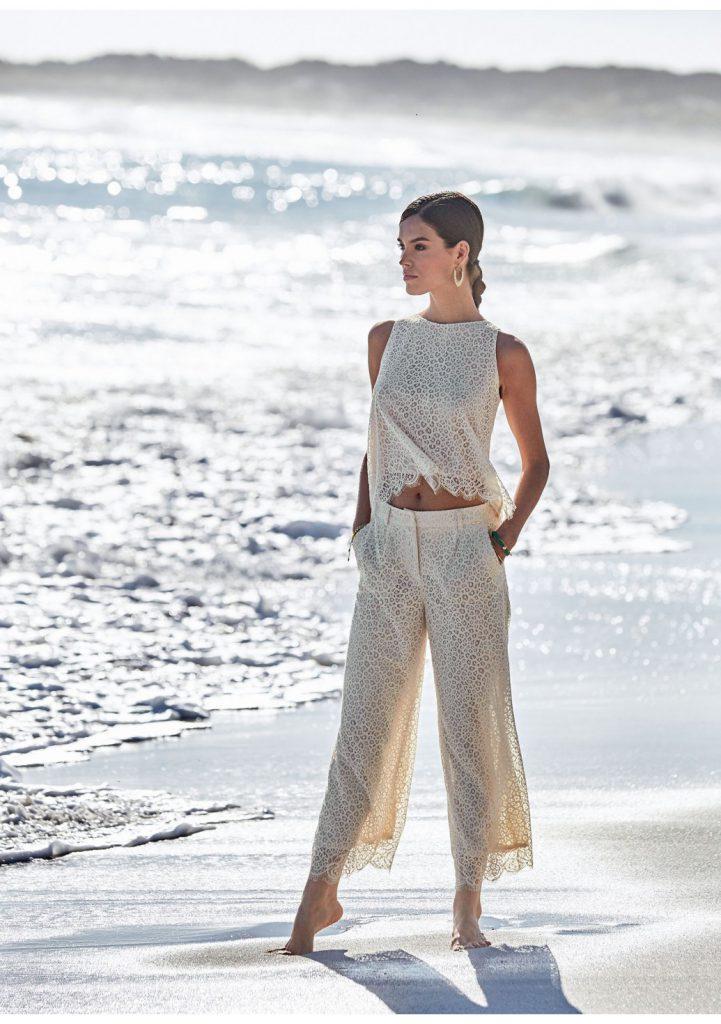Пляжные кружевные брюки с принтом
