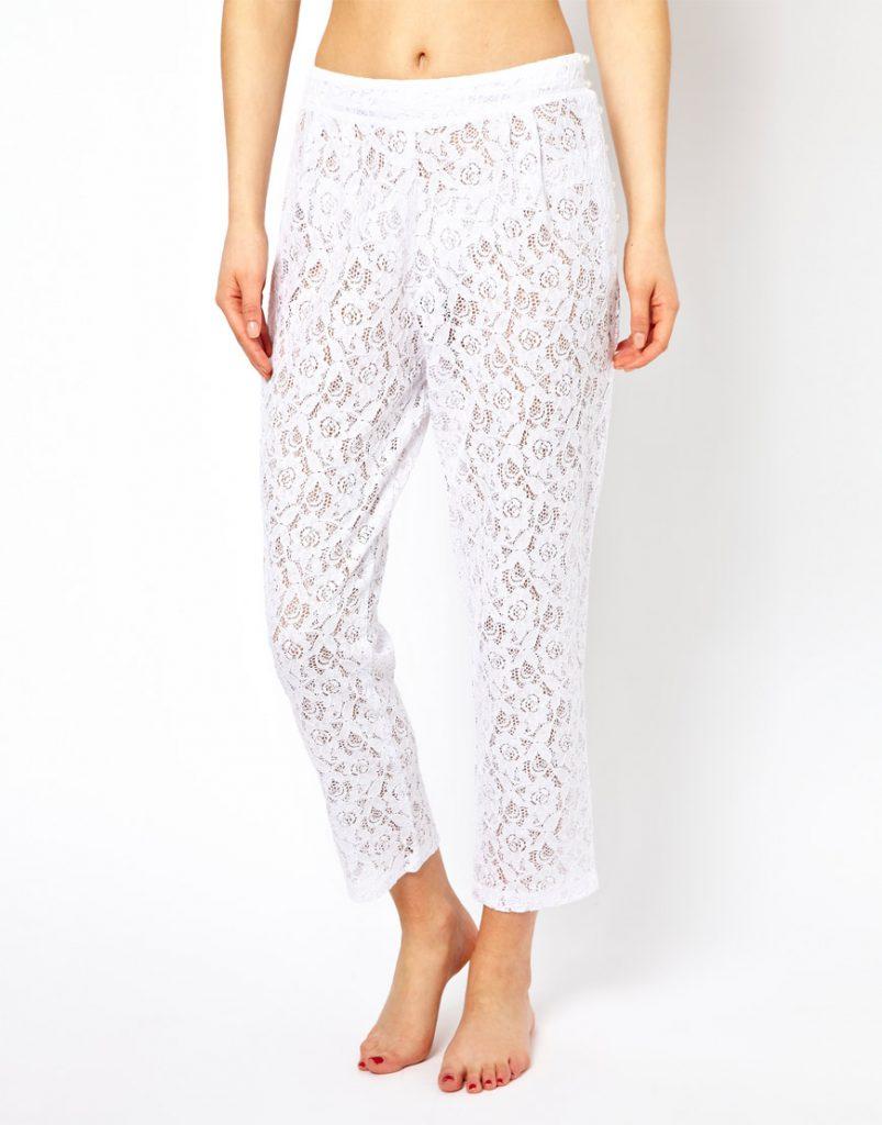 Белые кружевные брюки