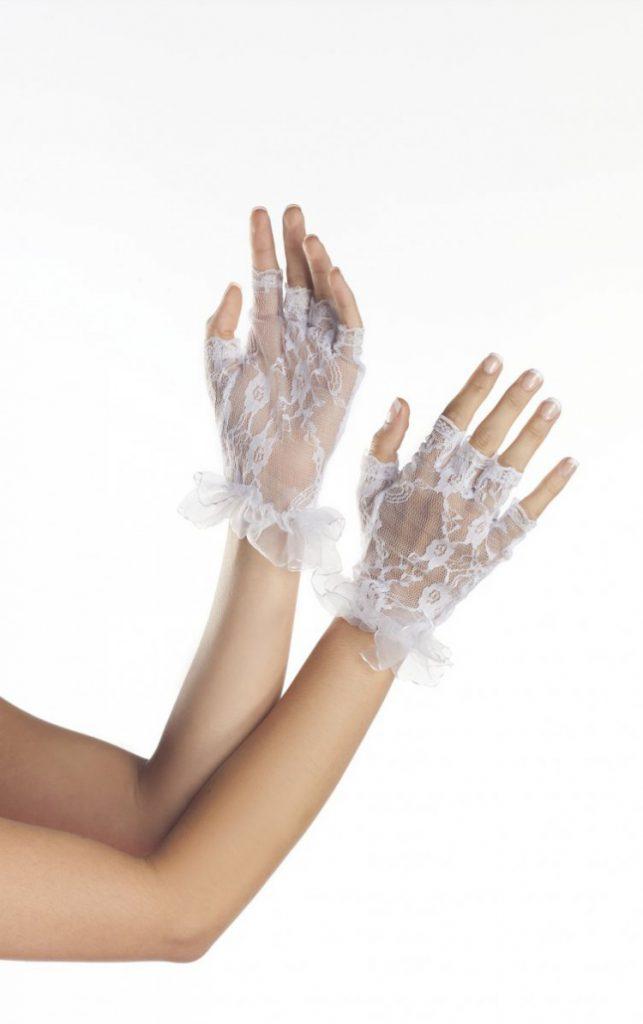 Белые короткие кружевные перчатки без пальцев