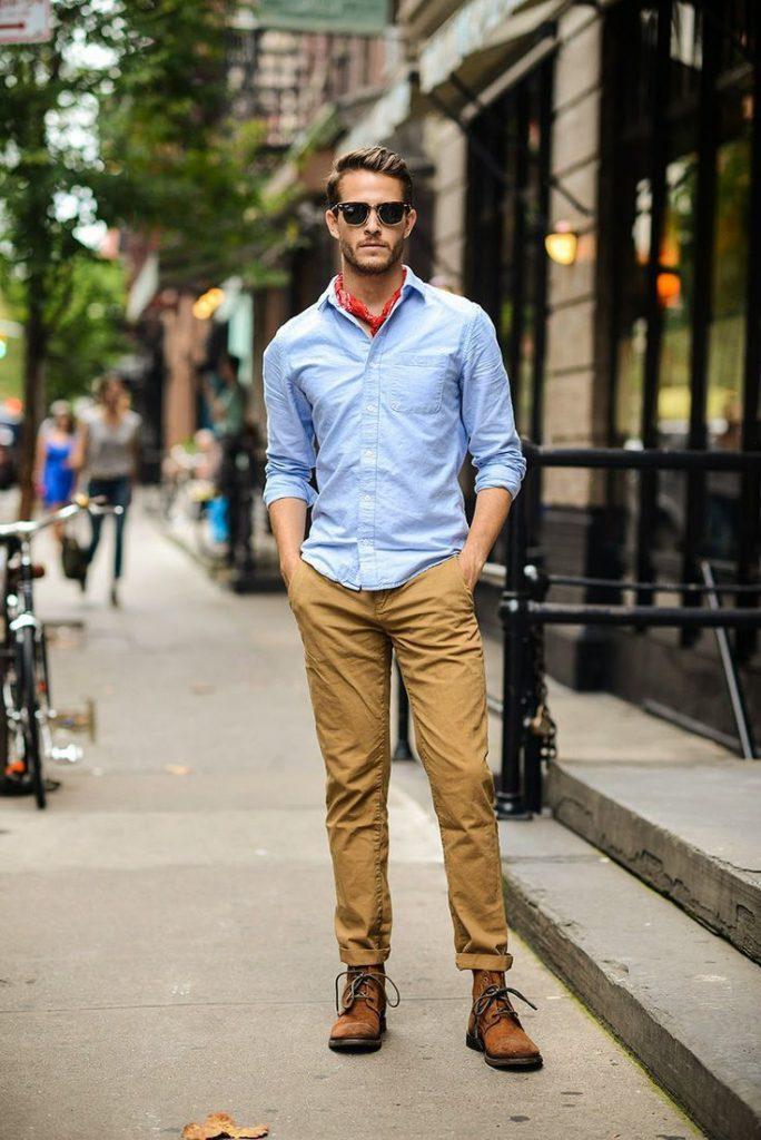 Коричневые замшевые мужские полусапоги с брюками