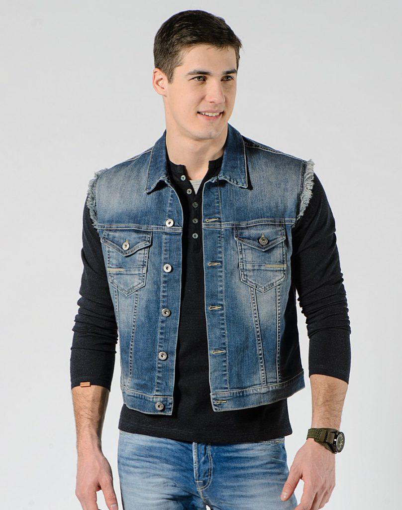 Модный мужской джинсовый жилет