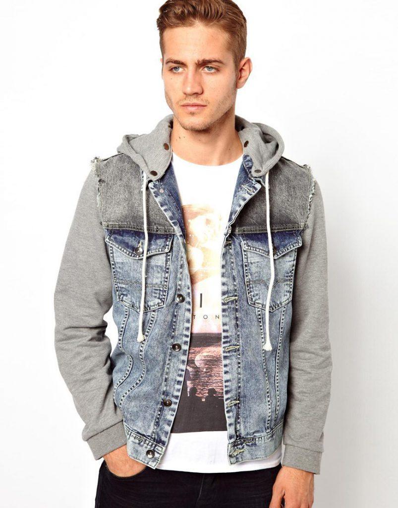 Сине-серый мужской джинсовый жилет
