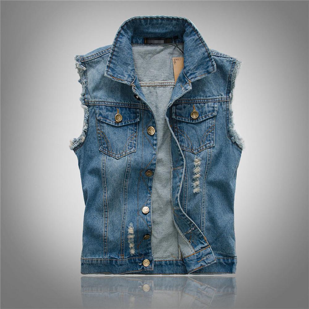 Мужской джинсовый жилет без капюшона