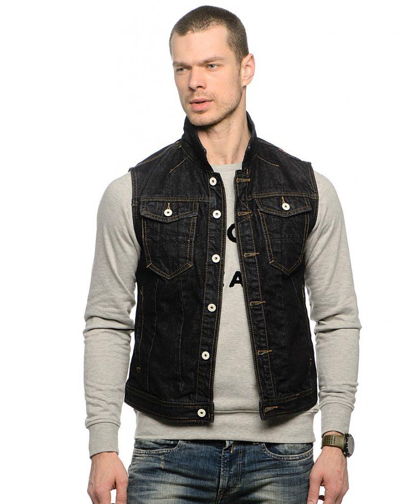 Черный мужской джинсовый жилет