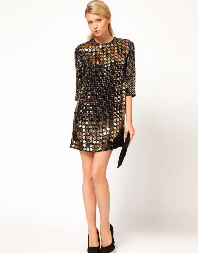Черно-золотистое платье с пайетками