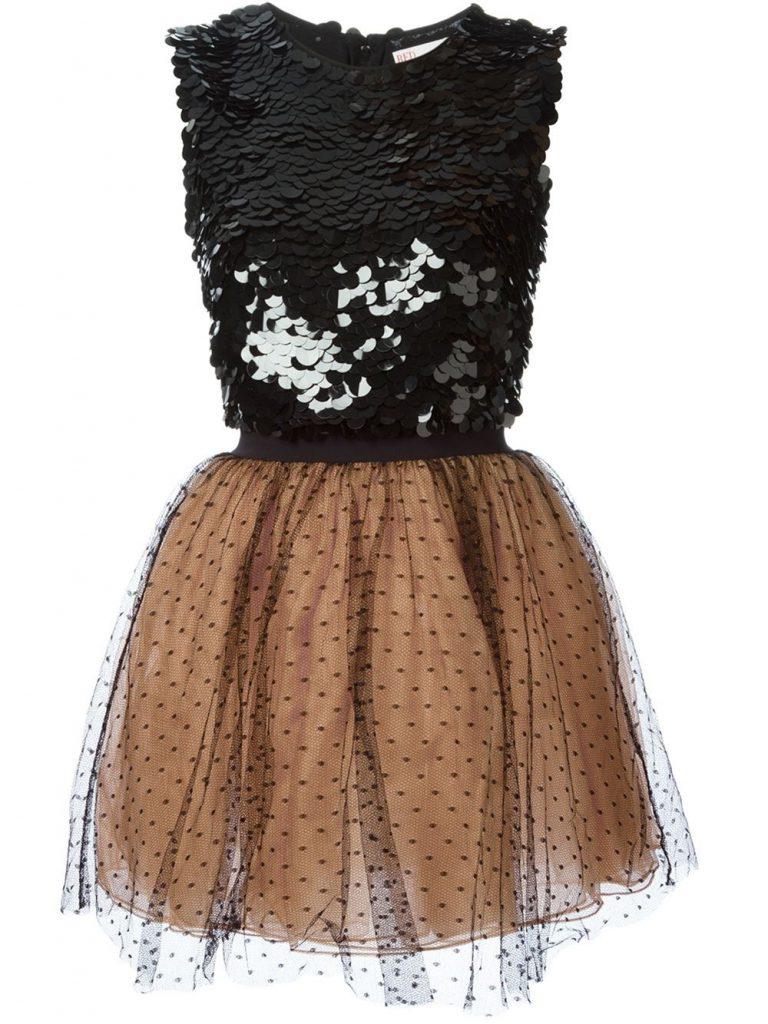 Черно-бежевое платье с пайетками с пышной юбкой