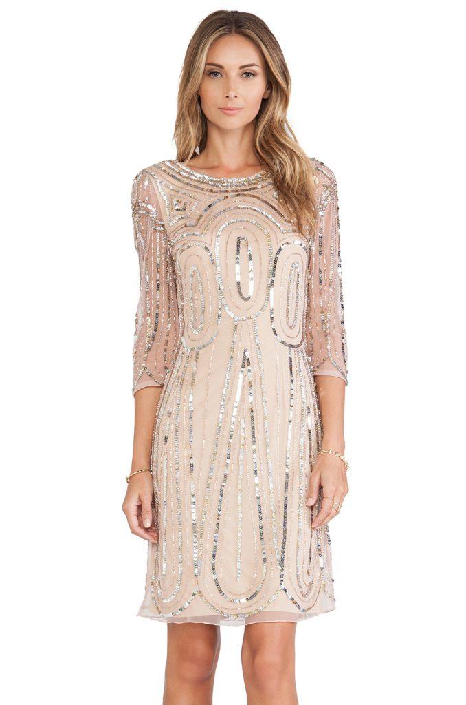 Кремовое платье с пайетками