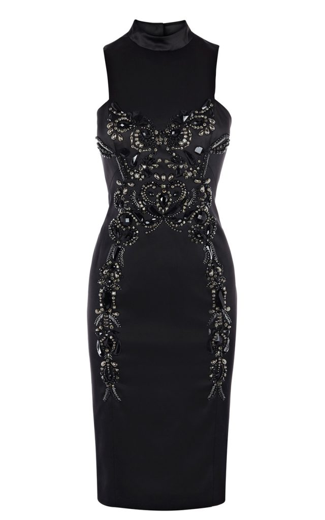 Черное вечернее платье с камнями