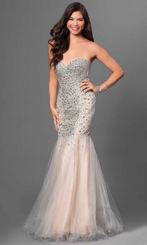 Кремовое вечернее платье с камнями