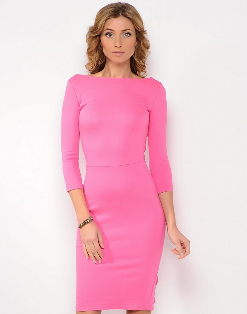 Офисное розовое платье