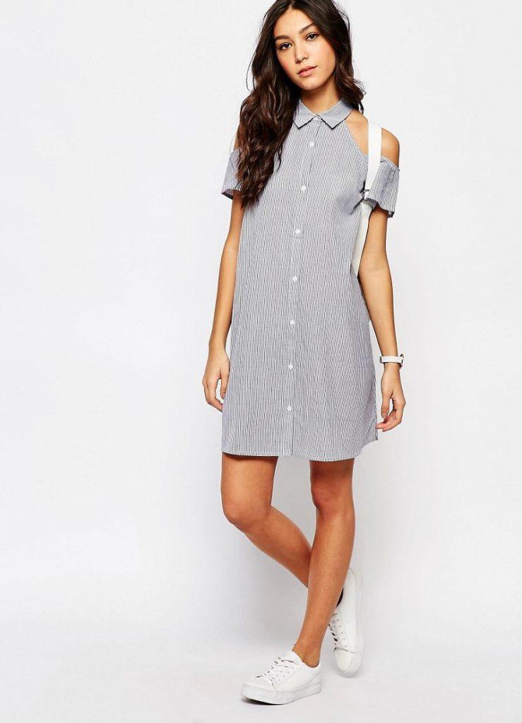 Черно-белая рубашка-платье с открытыми плечами