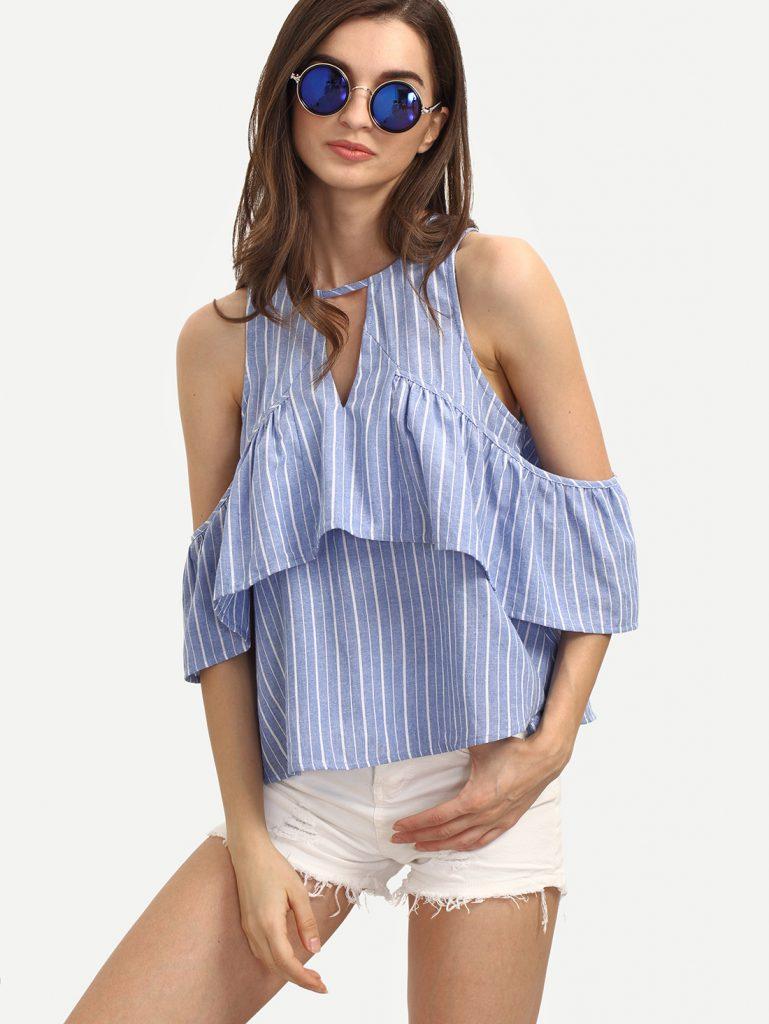 Полосатая летняя рубашка с открытыми плечами