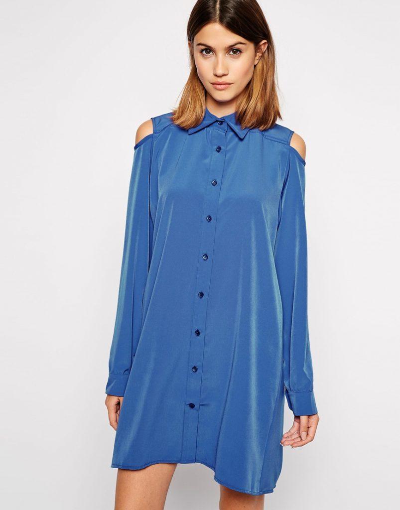 Синяя рубашка-платье с открытыми плечами
