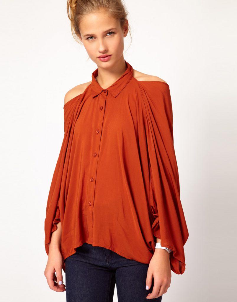 Оранжевая блузка с открытыми плечами