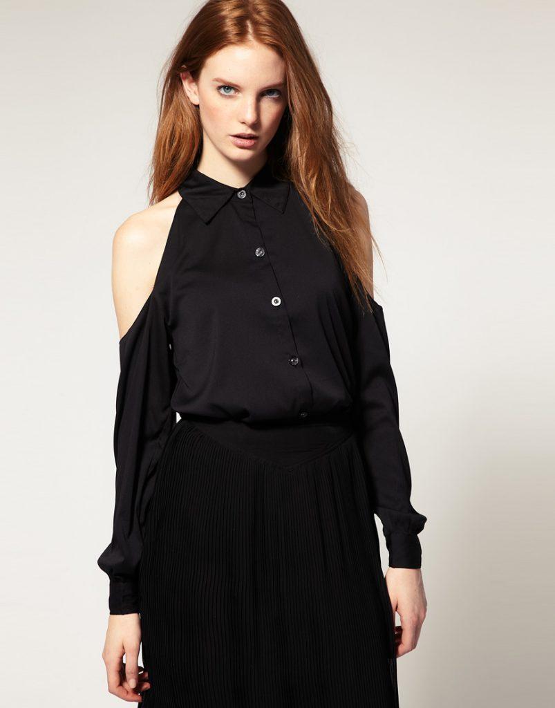 Черная деловая рубашка с открытыми плечами