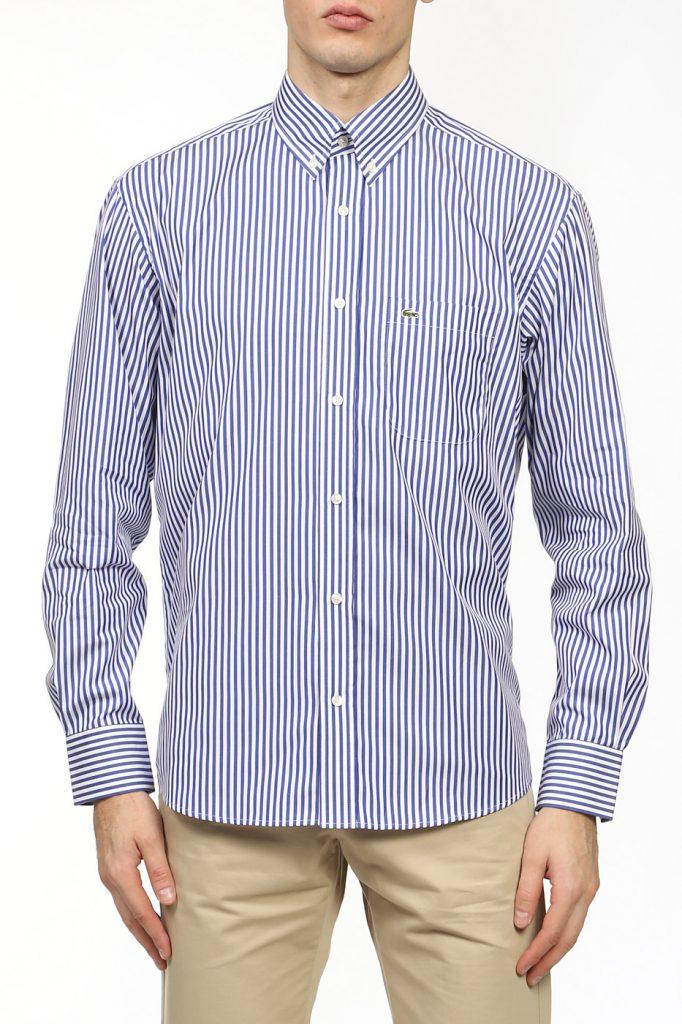 Мужская фиолетово-белая рубашка в полоску с бежевыми брюками